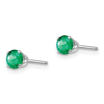 14k White Gold 4mm Emerald Stud Earrings