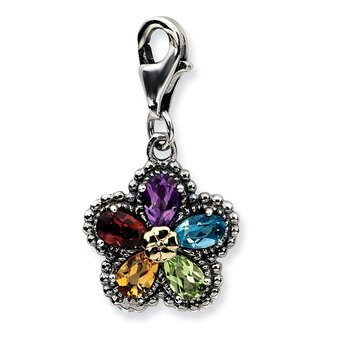 Sterling Silver w/14k Antiqued Multi Gemstone Flower w/Lobster Clasp Charm