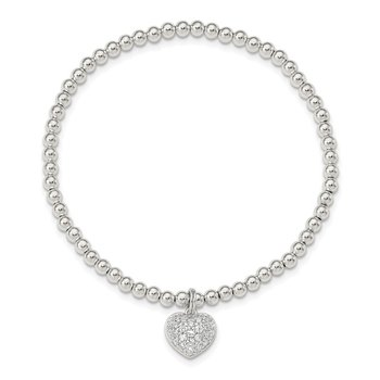 Sterling Silver CZ Heart Stretch Bracelet