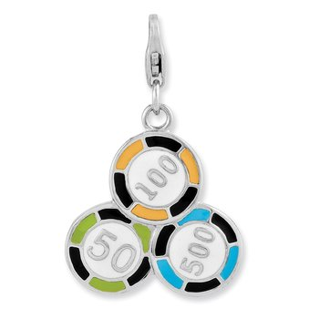 Sterling Silver Enameled Casino Chips w/Lobster Clasp Charm