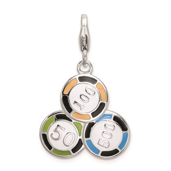 SS RH Enameled Casino Chips w/Lobster Clasp Charm