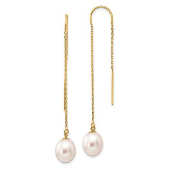 14k 7-8mm White Rice Freshwater Cultured Pearl Dangle Threader Earrings