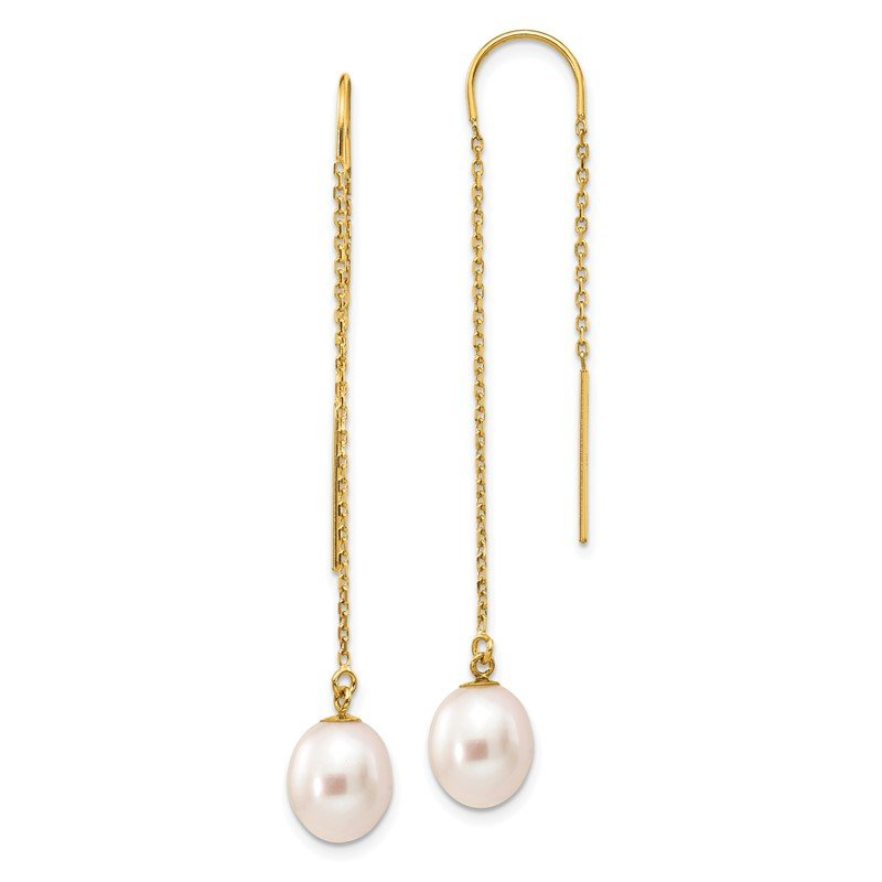 Quality Gold 14k 7-8mm White Rice Freshwater Cultured Pearl Dangle Threader Earrings