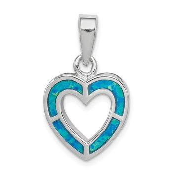 Sterling Silver Blue Inlay Created Opal Heart Pendant
