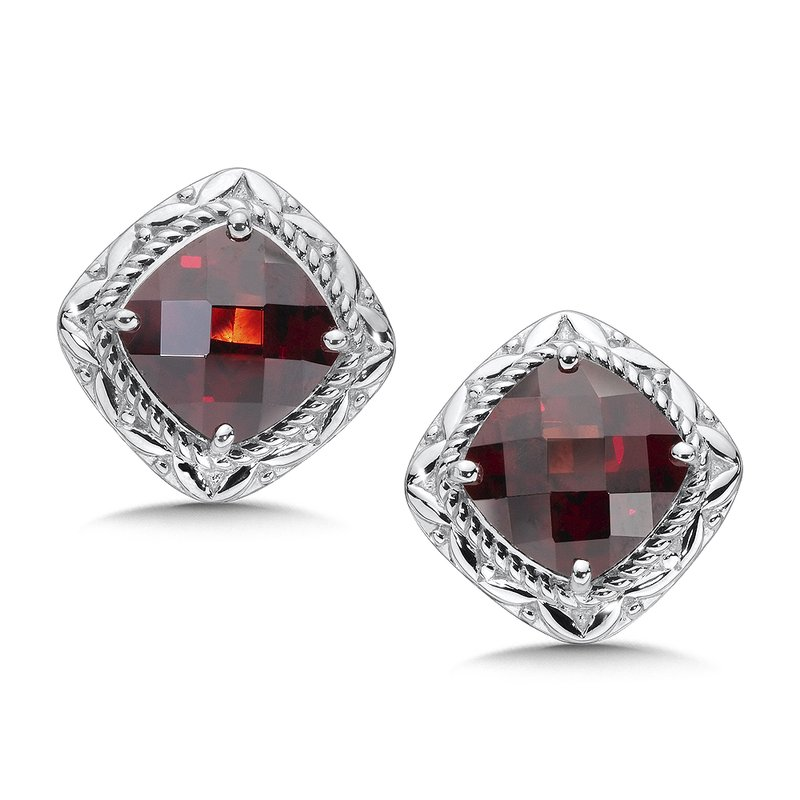 Colore SG Sterling Silver Garnet Post Earrings
