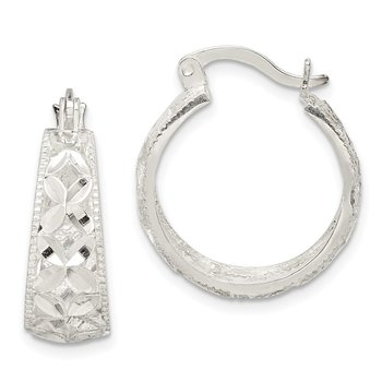 Sterling Silver Diamond-cut X Hoop Earrings