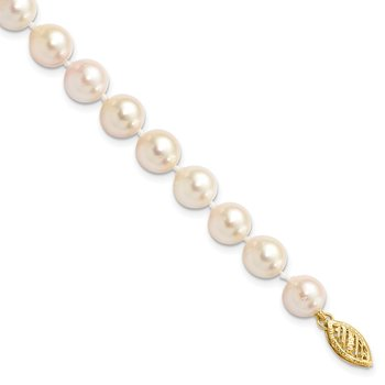 14k 7-8mm Round White Saltwater Akoya Cultured Pearl Necklace