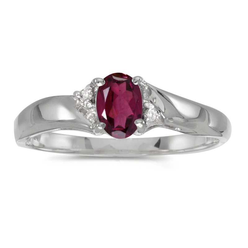 Color Merchants Sterling Silver Oval Rhodolite Garnet And Diamond Ring