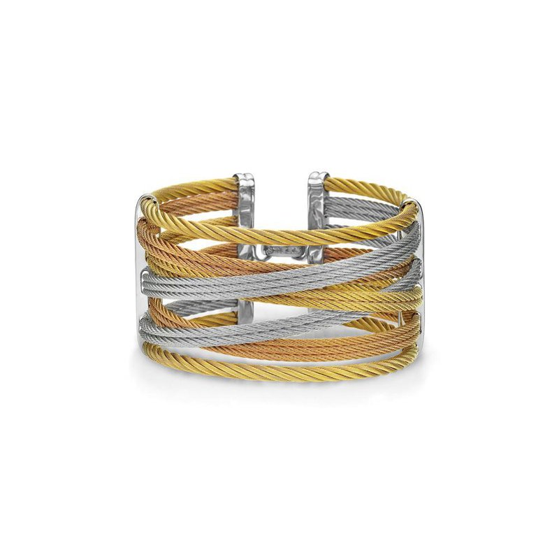 ALOR Yellow, Rose, & Grey Cable Interlaced Bracelet with 18kt White Gold