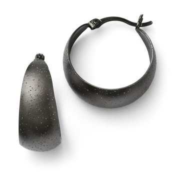 Leslie's SS Black Ruthenium-plated Radiant Essence Hoop Earrings