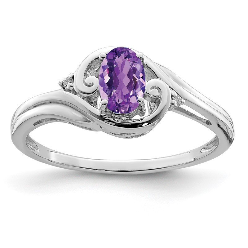 Quality Gold Sterling Silver Rhodium Plated Diamond & Amethyst Ring
