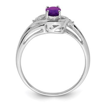 Sterling Silver Rhodium Plated Diamond & Amethyst Ring