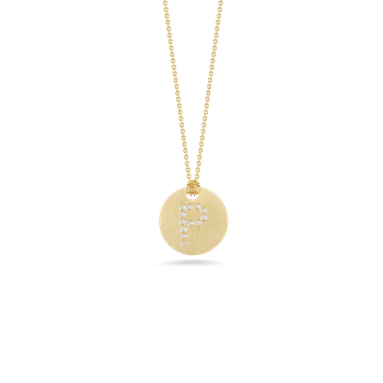 18Kt Gold Disc Pendant With Diamond Initial P