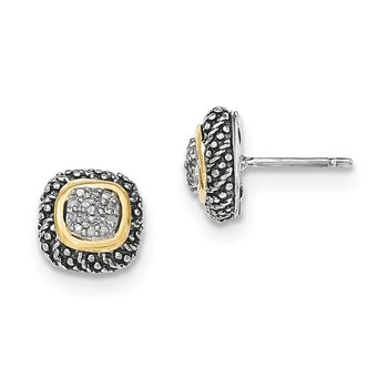 Sterling Silver w/14k Diamond Post Earrings