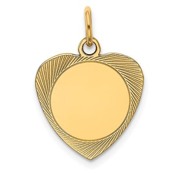 14k Etched .018 Gauge Engravable Heart Disc Charm