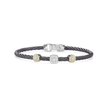 Steel Grey Cable Essential Stackable Bracelet with Multiple Diamond station set in 18kt White & Yellow Gold