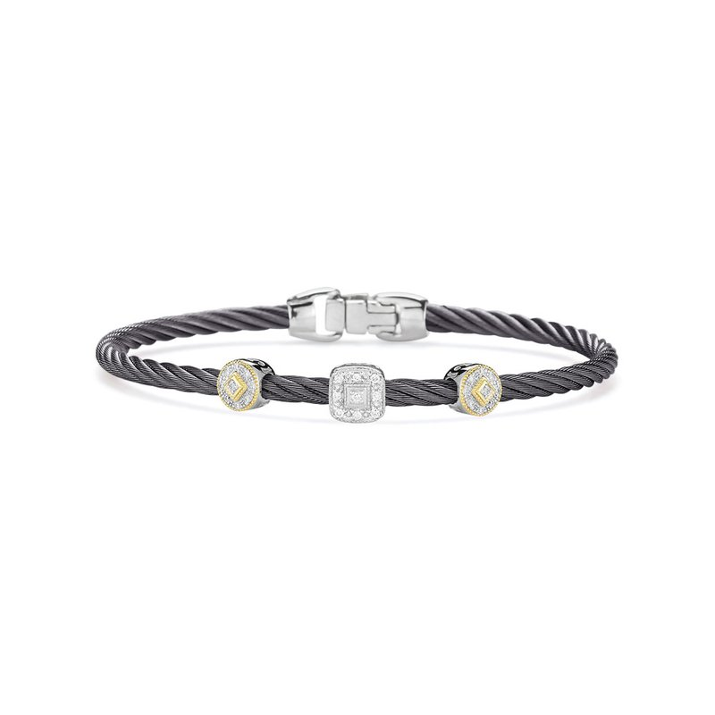 ALOR Steel Grey Cable Essential Stackable Bracelet with Multiple Diamond station set in 18kt White & Yellow Gold