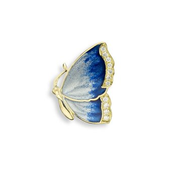 Blue Butterfly Pendant.18K -Diamond