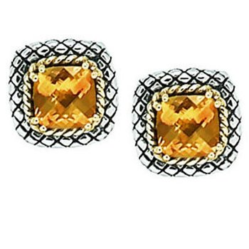 18kt and Sterling Silver Cushion Citrine Button Earrings