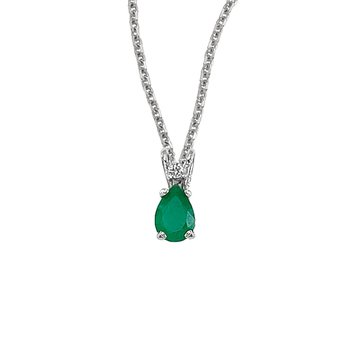 14K White Gold Pear Shaped Emerald & Diamond Pendant