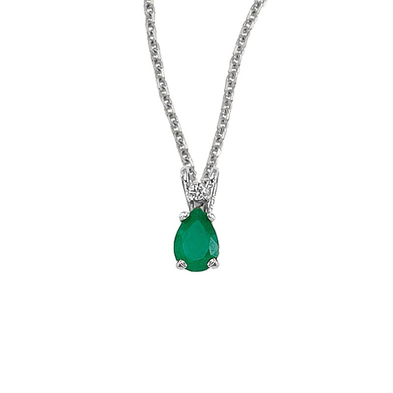 Color Merchants 14K White Gold Pear Shaped Emerald & Diamond Pendant