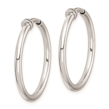 Sterling Silver RH-plated Polish 2x20mm Non-Pierced Hoop Earrings