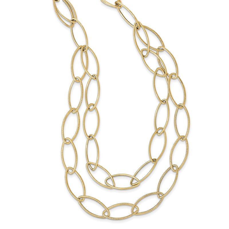Quality Gold 14k Gold Polished Textured Fancy Link Necklace