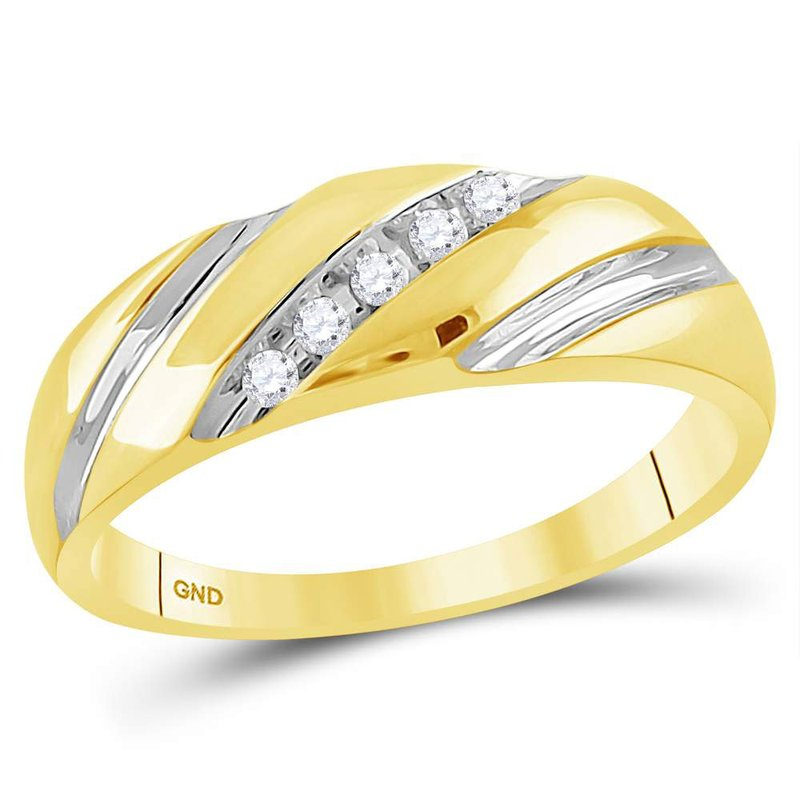 Gold-N-Diamonds, Inc. (Atlanta) 14kt Yellow Gold Mens Round Diamond Two-tone Single Row Wedding Band Ring 1/10 Cttw