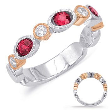 Rose & White Ruby & Diamond Ring