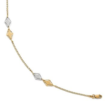Leslie's 14k Two-tone Polished Textured Anklet