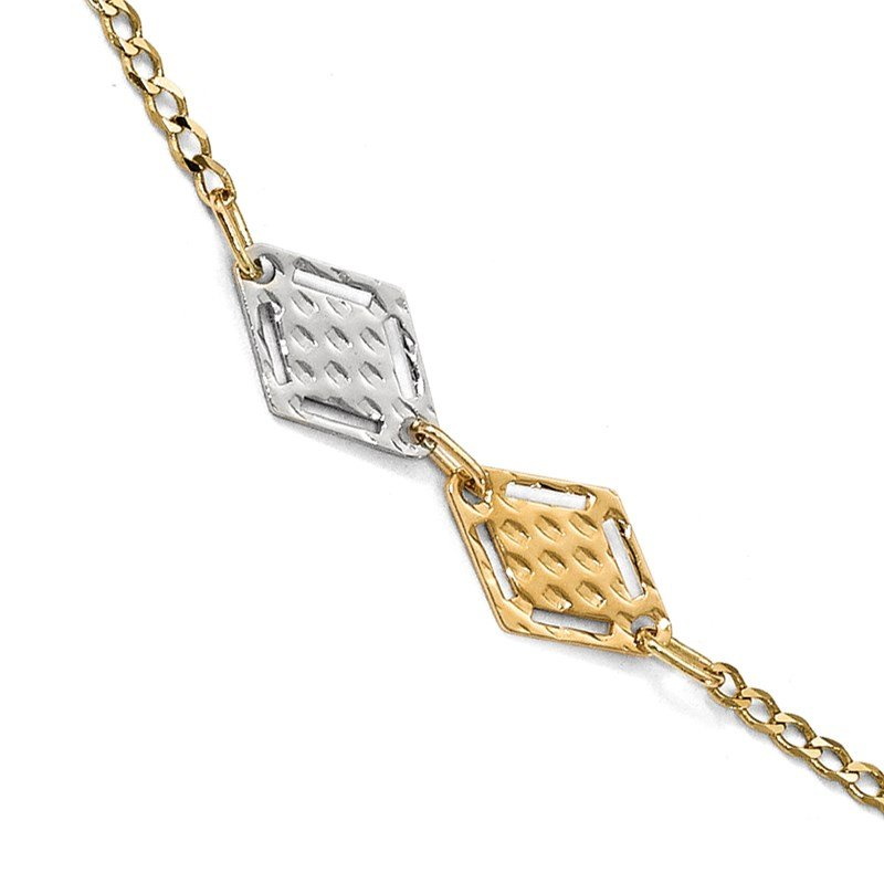 Leslie's Leslie's 14k Two-tone Polished Textured Anklet