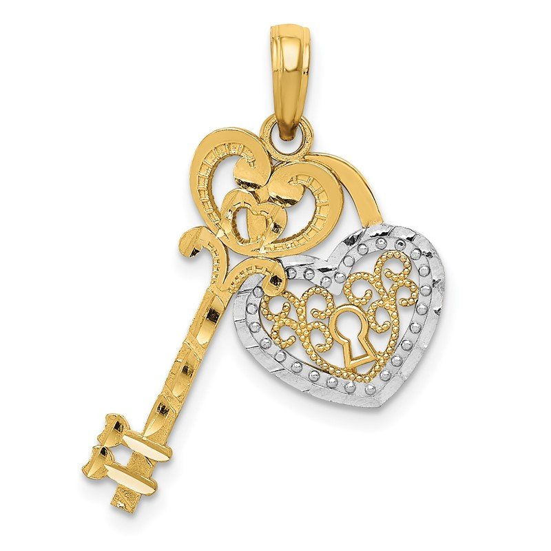 Quality Gold 14K w/White Rhodium Moveable Filigree Heart Key and Lock Charm