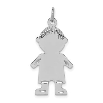 Sterling Silver Rhodium-plated Engravable Boy Polished Disc Charm