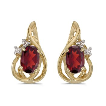 10k Yellow Gold Oval Garnet And Diamond Teardrop Earrings