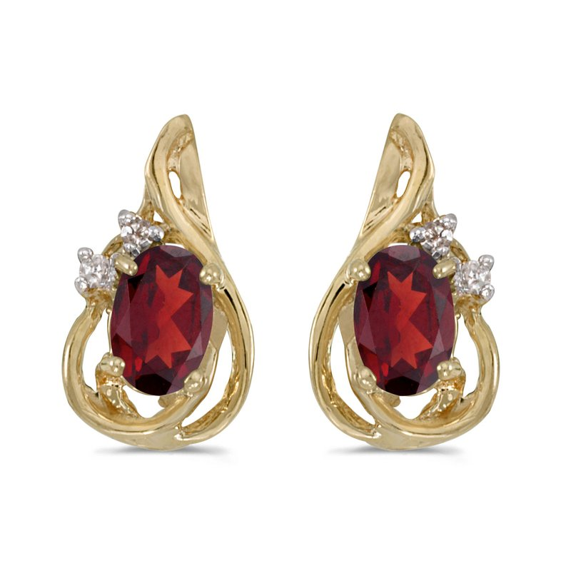 Color Merchants 10k Yellow Gold Oval Garnet And Diamond Teardrop Earrings