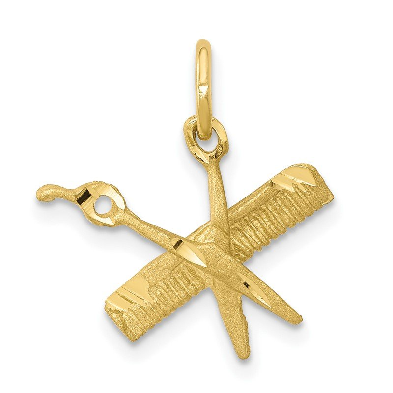 Quality Gold 10K Comb and Scissors Charm