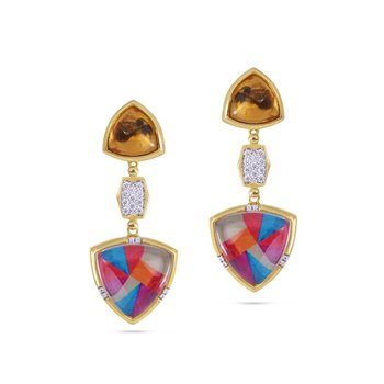 LuvMyJewelry Colorful Canvas Diamond Earrings in Sterling Silver & 14 KT Yellow Gold Plating