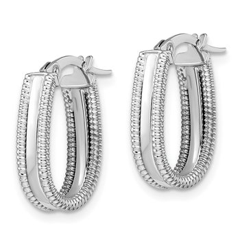 Leslie's 14k White Gold Polished Textured Oval Hoop Earrings