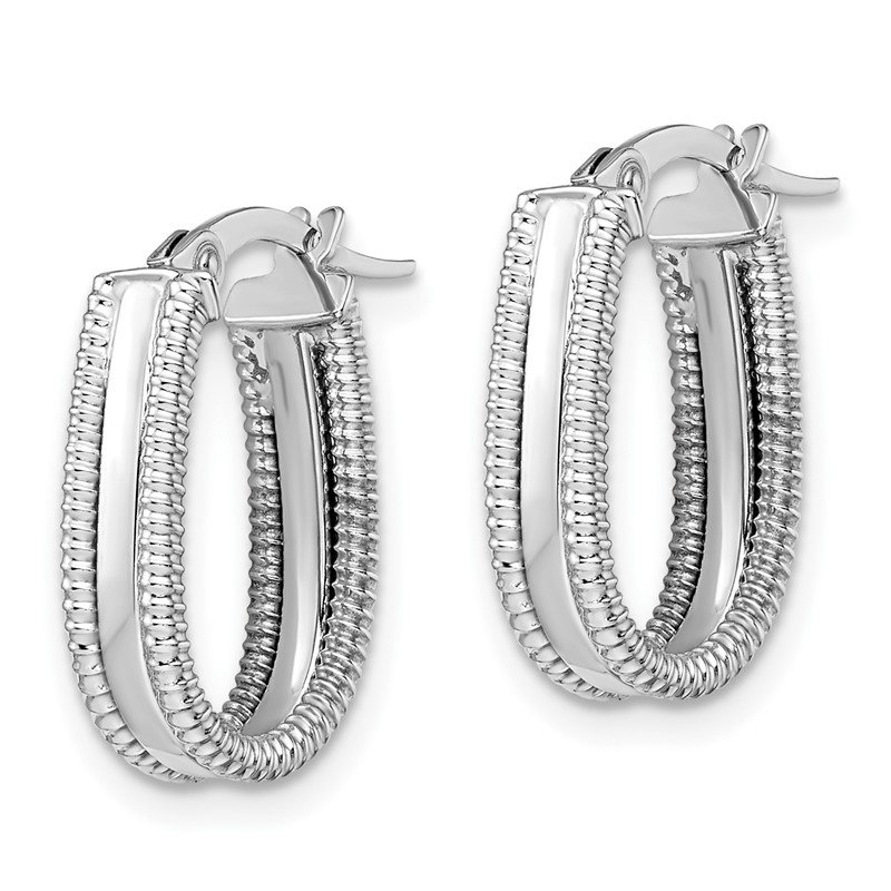 Leslie's Italian Gold Leslie's 14K White Gold Polished Textured Oval Hoop Earrings