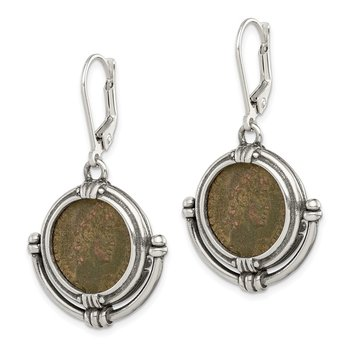 Sterling Silver Antiqued Roman Bronze Coin Leverback Earrings