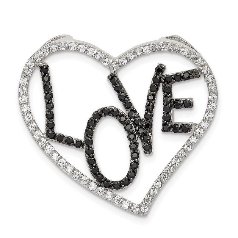 Lester Martin Online Collection Sterling Silver Polished Black & White CZ Love in Heart Chain Slide