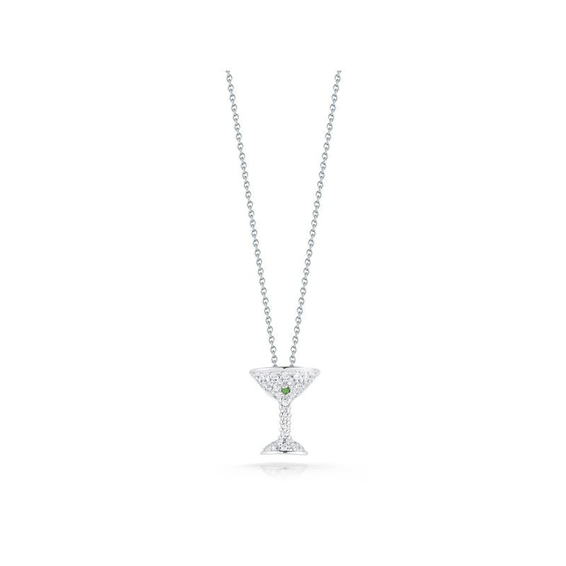 Roberto Coin 18Kt Gold Martini Pendant With Diamonds And Green Tsazvorite
