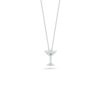 18KT GOLD MARTINI PENDANT WITH DIAMONDS AND GREEN TSAZVORITE