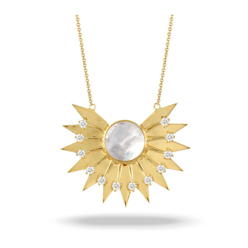 Doves White Orchid Sunburst Diamond Necklace 18KY