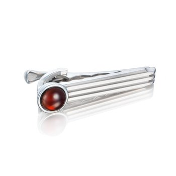 Racing Tie Bar featuring Garnet over Mother of Pearl