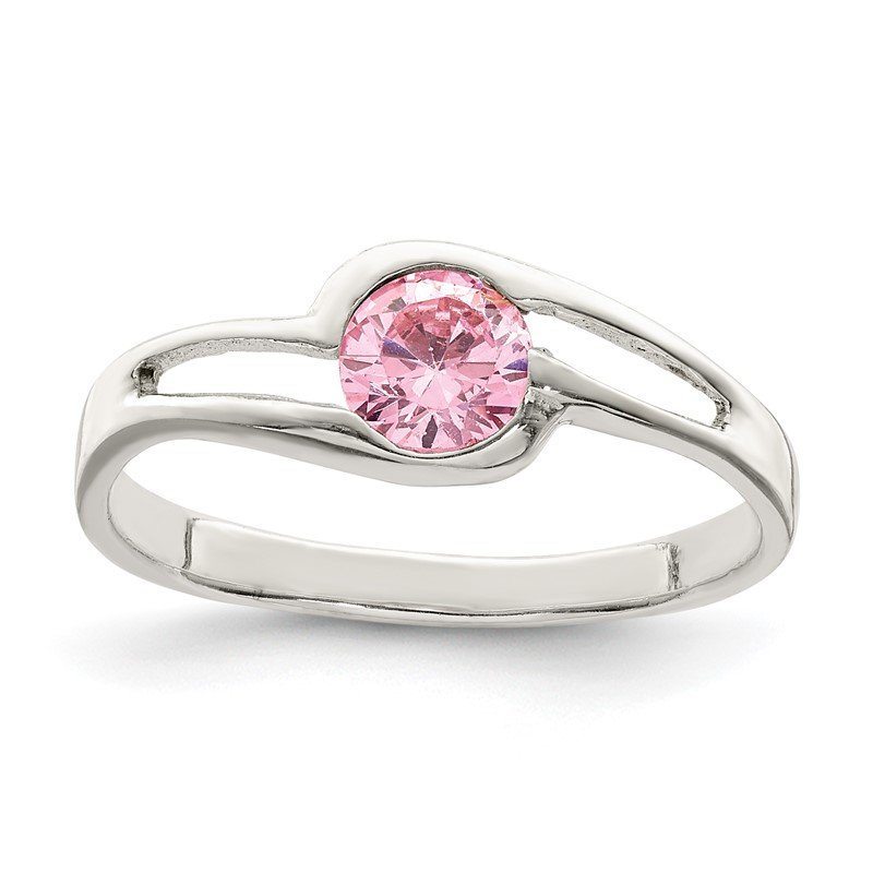 J.F. Kruse Signature Collection Sterling Silver Pink Round Bezel CZ Ring