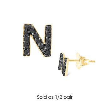 "Black Diamond Single Initial ""N"" Stud Earring (1/2 pair)"