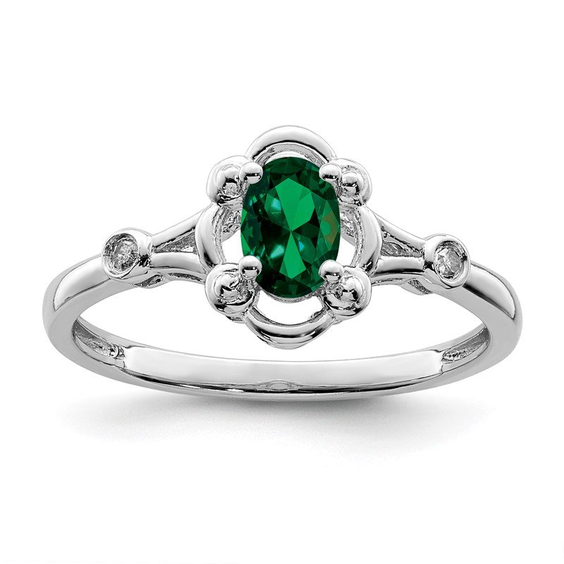 Quality Gold Sterling Silver Rhodium-plated Created Emerald & Diam. Ring