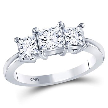 14kt White Gold Womens Princess Diamond 3-stone Bridal Wedding Engagement Ring 1-1/2 Cttw (Certified)