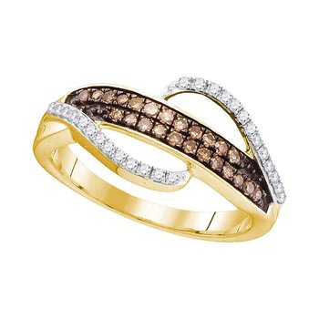 10kt Yellow Gold Womens Round Cognac-brown Color Enhanced Diamond Band Ring 1/3 Cttw